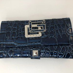GUESS Blue Croc Wallet w/ G emblem